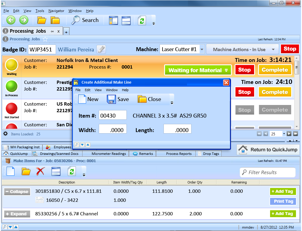 Example of NIM Processing Jobs User Interface Touch Enabled Popup