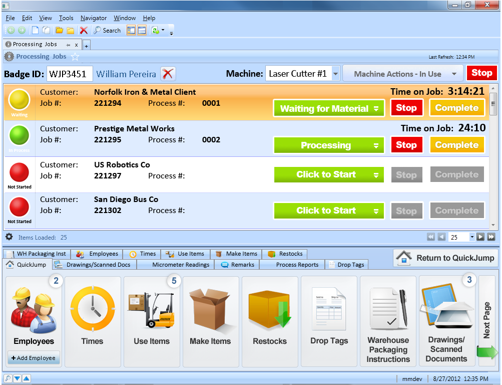 Example of NIM Processing Jobs User Interface