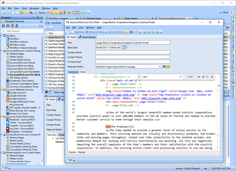 Updated HTML Editor – Find functionality using updated code editor