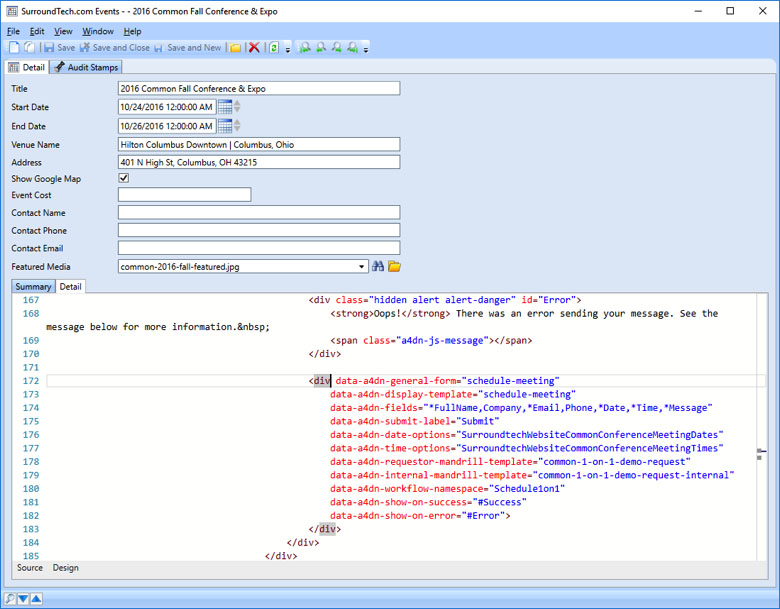 Just a few lines of code in the Accelerator CMS to create a complete Web Form